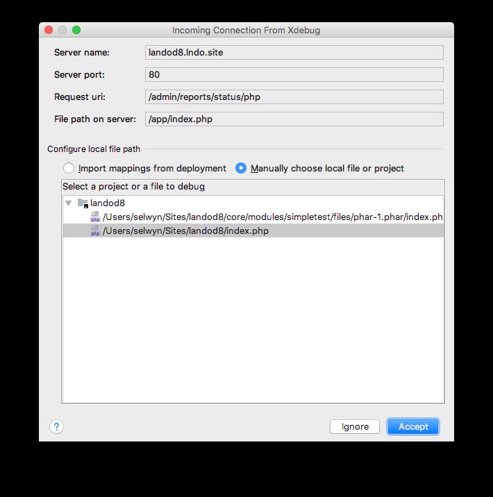 phpstorm incoming debug dialog