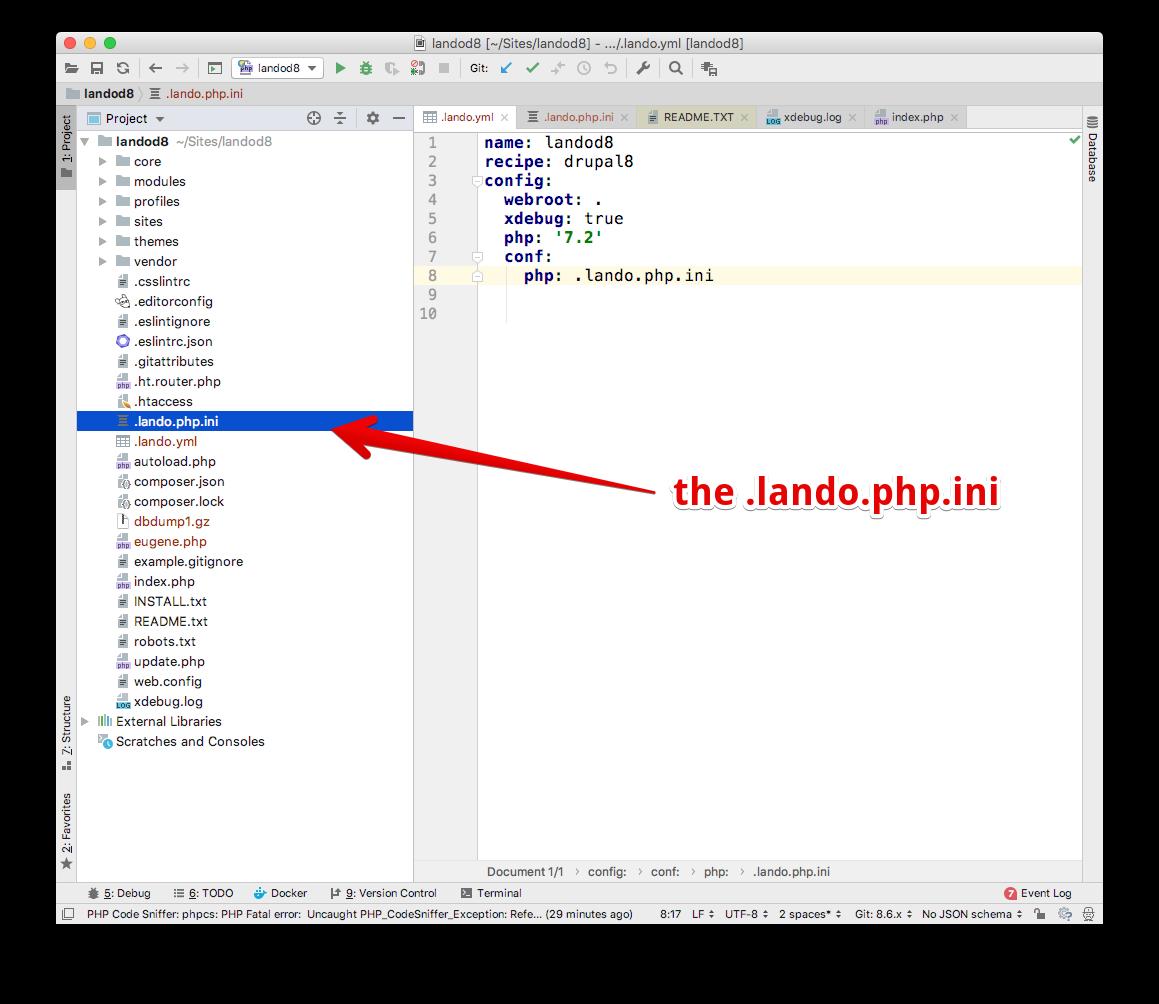 The .lando.php.ini file