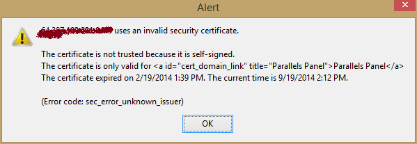 Firefox reports invalid Security Certificate but doesn\'t allow you ...
