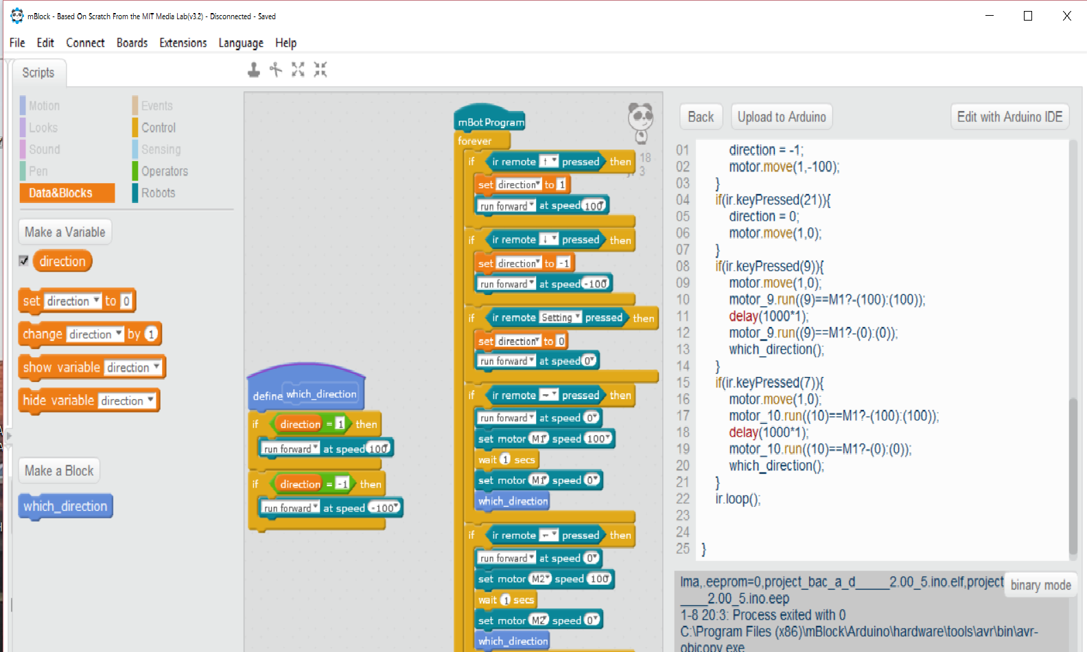screenshot of scratch program